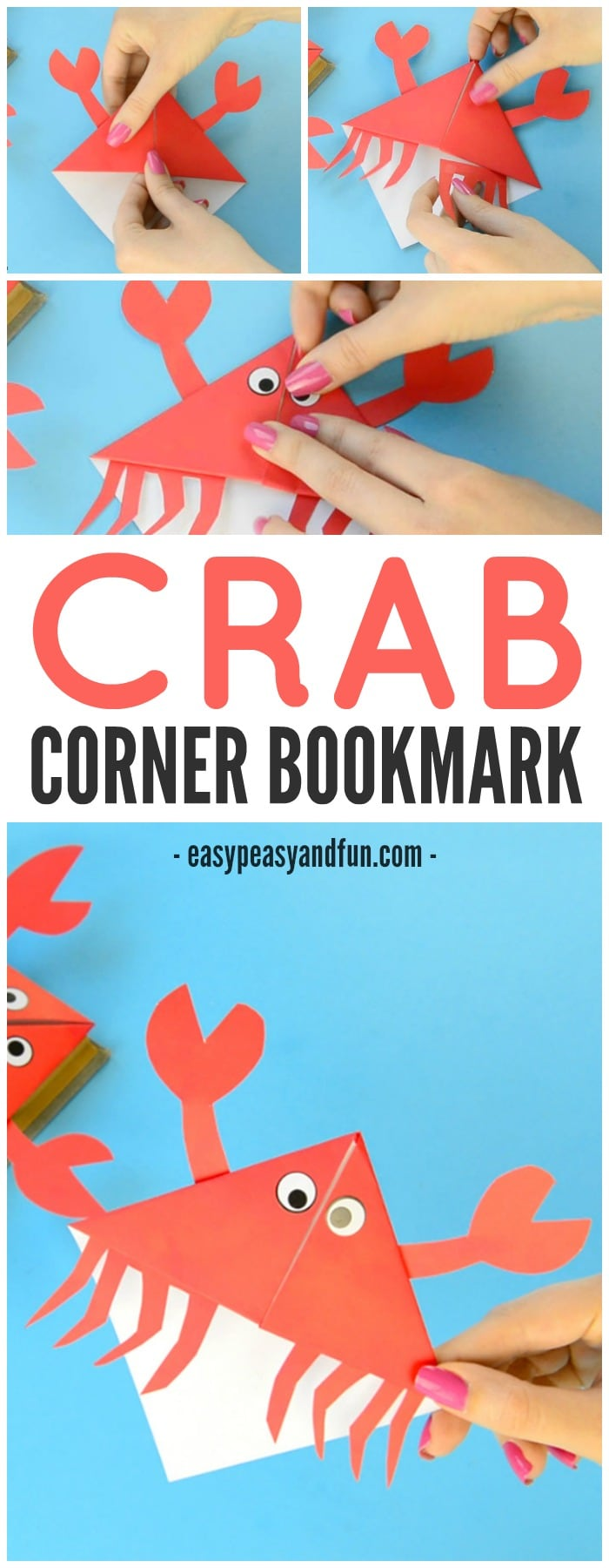 Adorable Crab Corner Bookmarks Origami for Kids