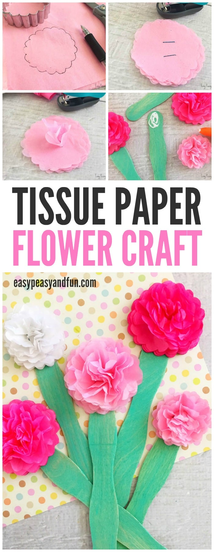 Colorful Tissue Paper Flower Craft For Kids To Make