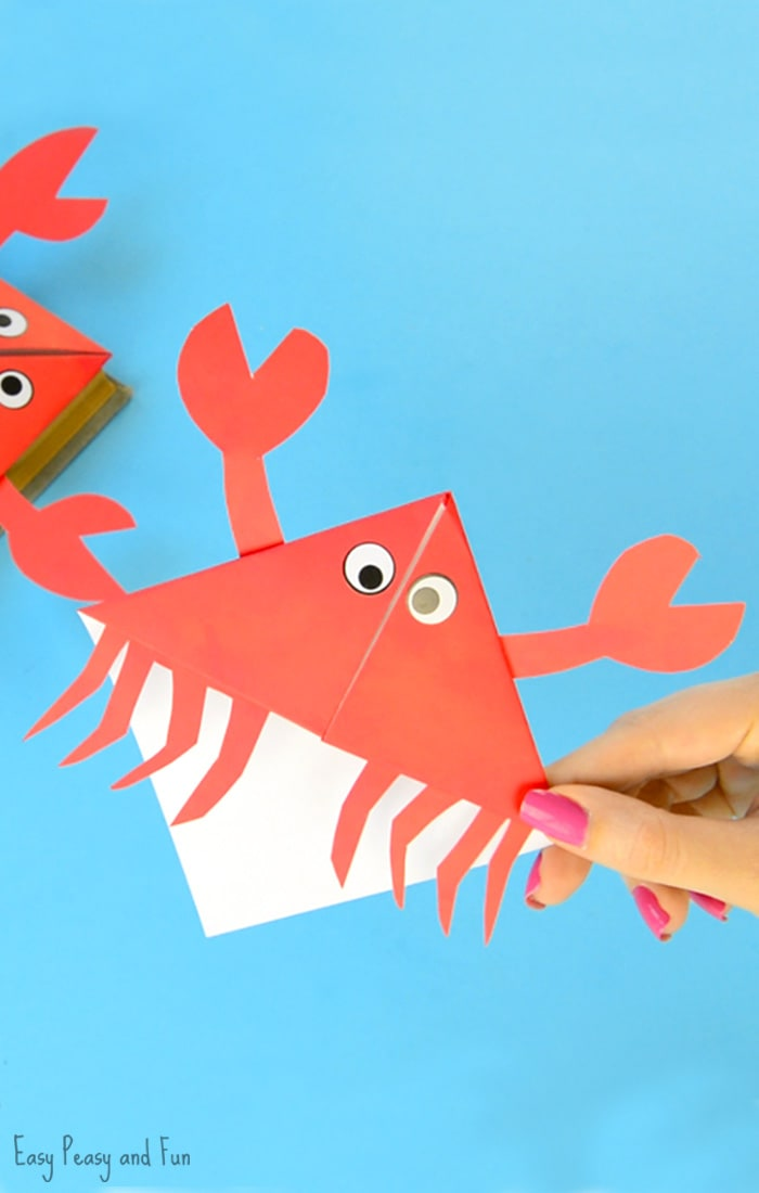 Crab Corner Bookmarks Origami for Kids to Make
