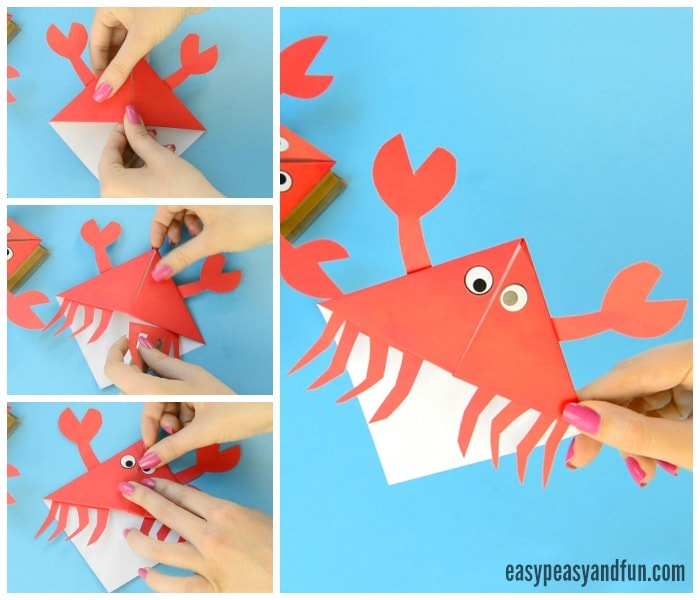 Cute Crab Corner Bookmarks Origami for Kids