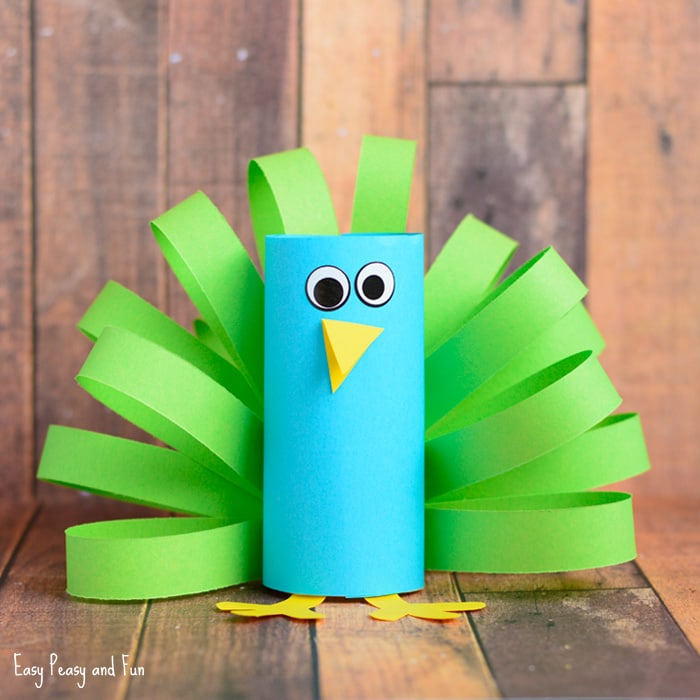 Cute Paper Roll Peacock Craft for Kids
