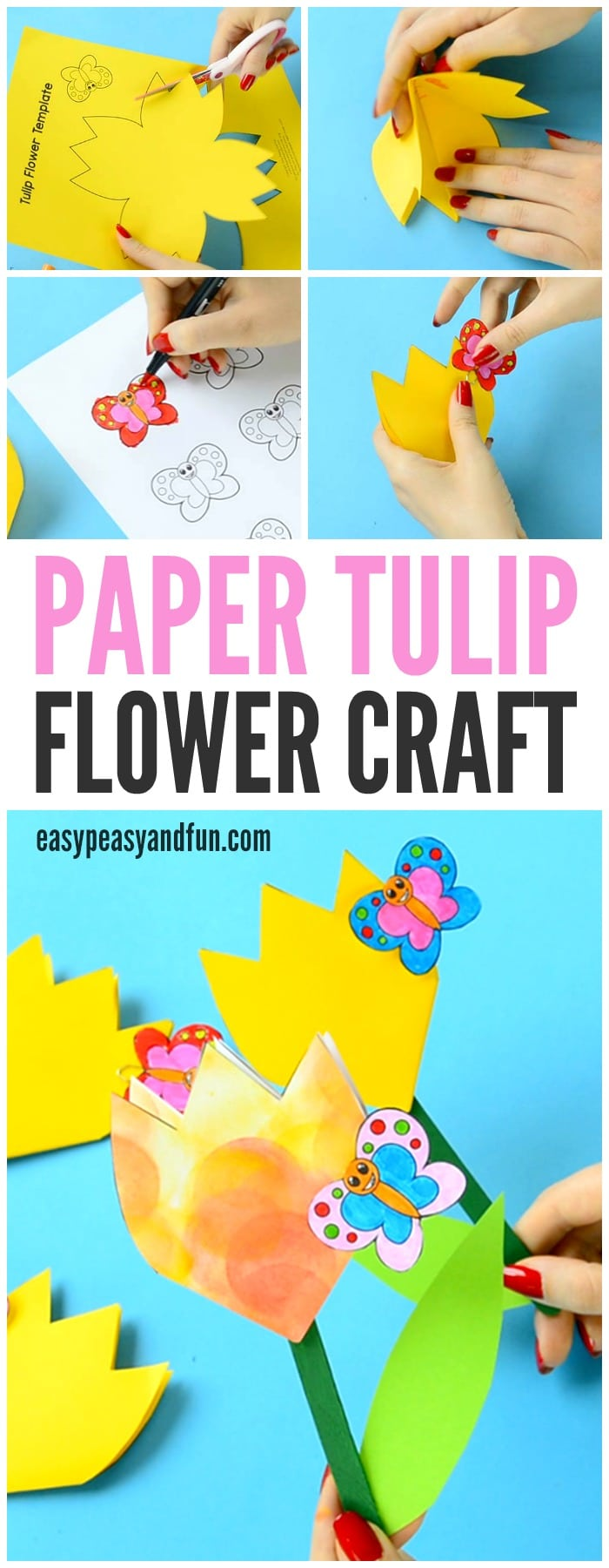 paper tulip flower craft with printable template easy peasy and fun