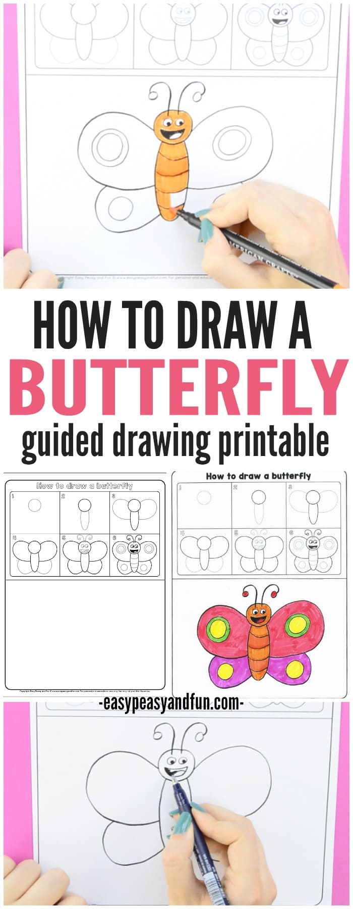 How to Draw a Butterfly Step by Step Guided Drawing for Kids