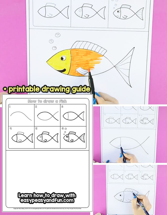 How To Draw A Fish Step By Step Tutorial For Kids Printable Easy
