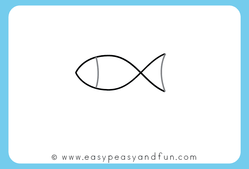 Simple Fish Line Art : How to draw a fish step by tutorial for kids