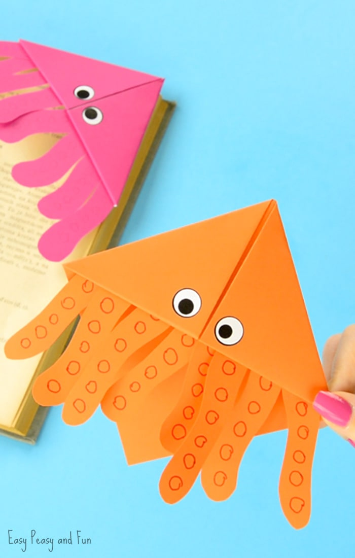 Octopus corner bookmarks easy peasy and fun How to make a simple bookmark