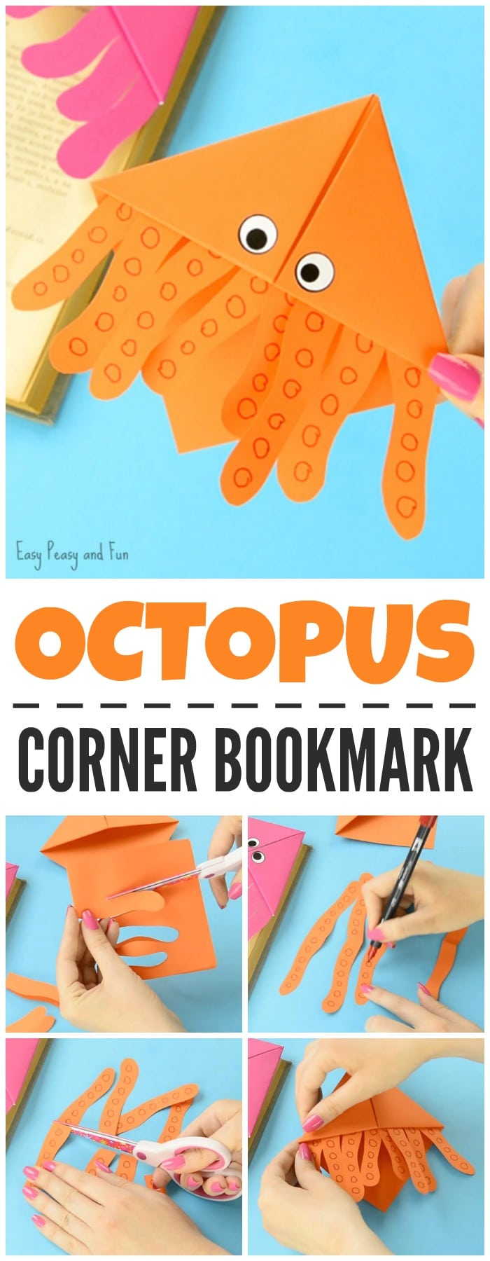 Octopus Corner Bookmarks Origami Crafts for Kids