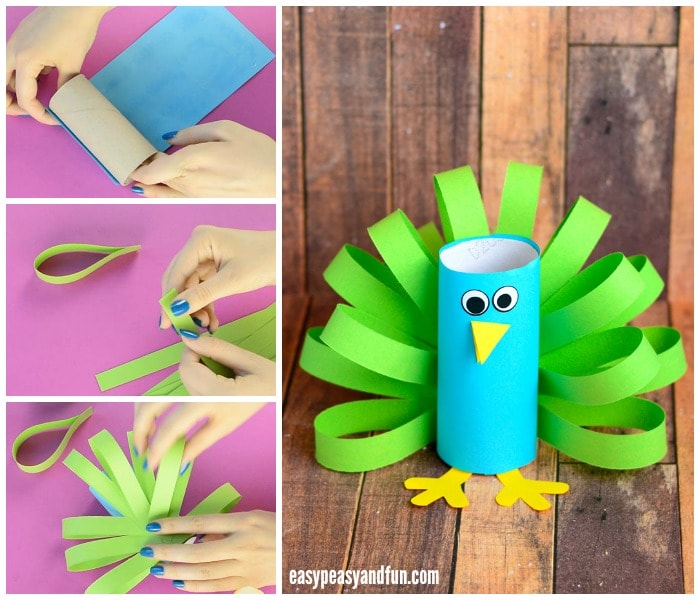 Toilet paper roll peacock craft idea easy peasy and fun for Kraft paper craft tubes