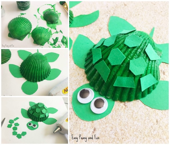 Seashell Turtle Craft Seashell Craft Ideas Easy Peasy And Fun