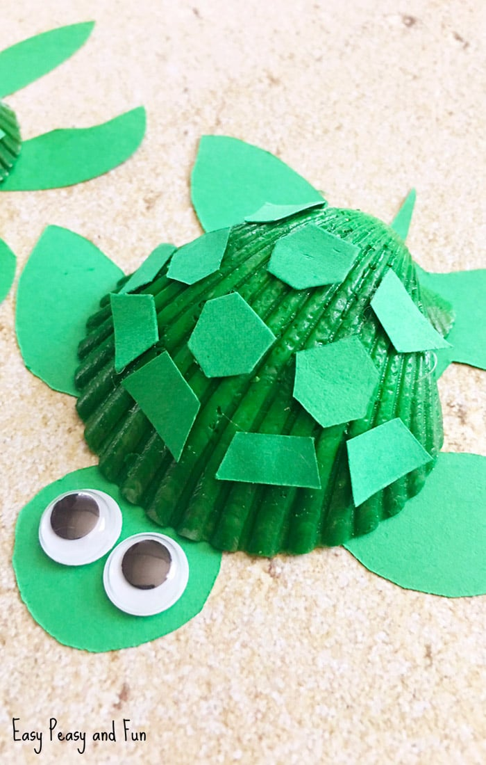 Seashell Turtle Craft - Seashell Craft Ideas - Easy Peasy ...