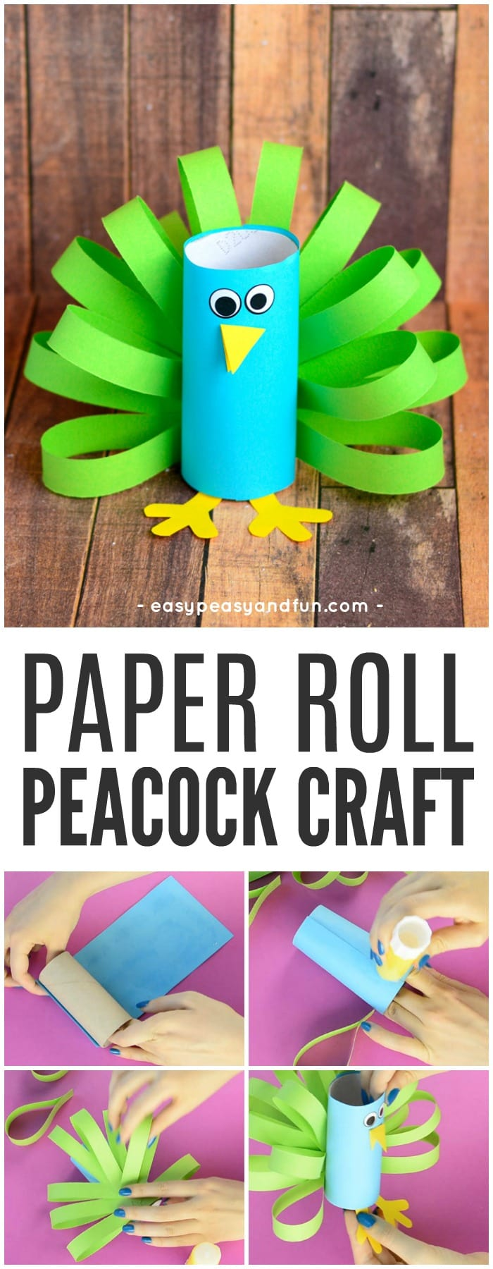 Toilet Paper Roll Peacock Craft for Kids