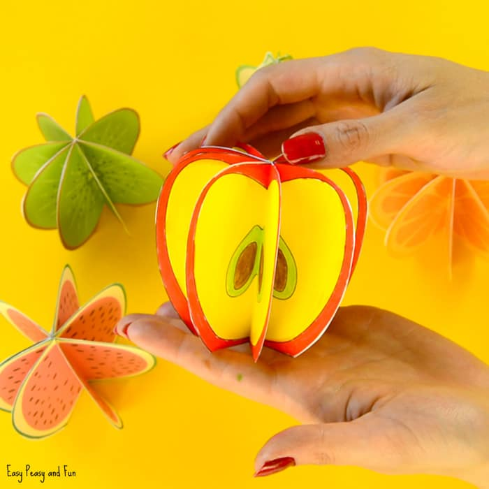 3D Paper Fruit Craft Printable Template