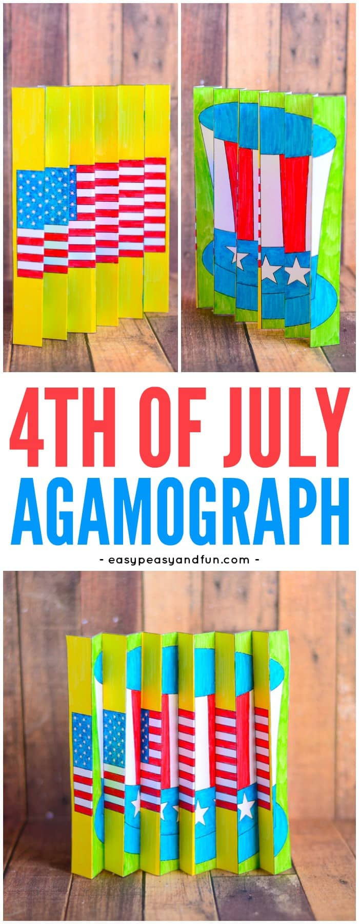 4th of July Agamograph Printable Template for Kids