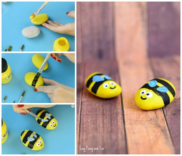 Cute Bee Painted Rocks