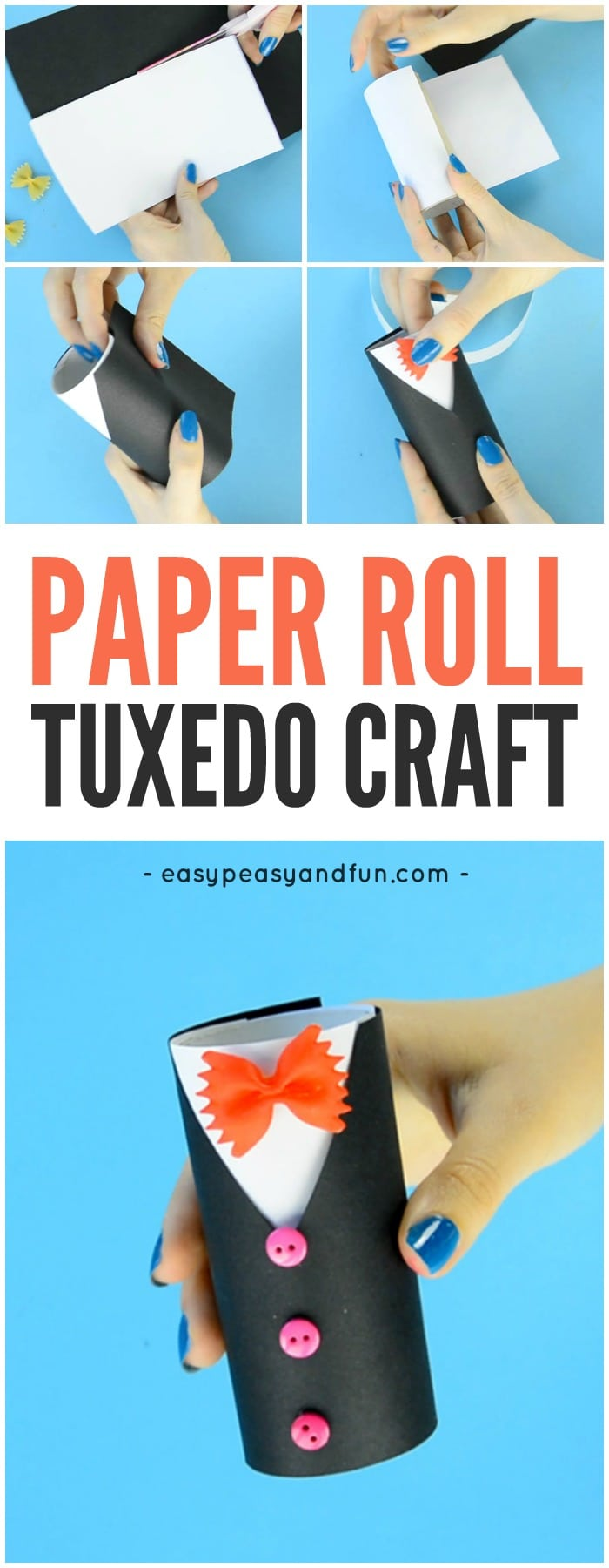 Cute Paper Roll Tuxedo Craft for Kids to Make. Great Father's day Craft for Kids too!