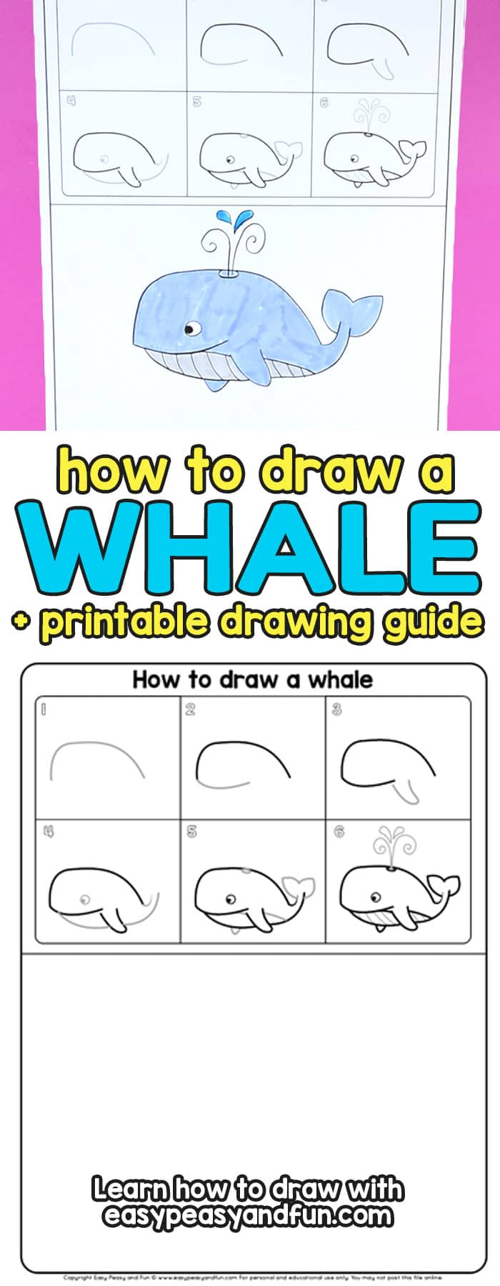 how to draw a whale step by step tutorial for kids cartoon style