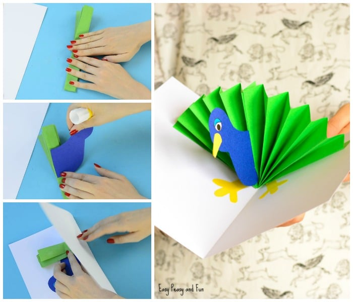 Paper Peacock Pop Up Card Craft for Kids