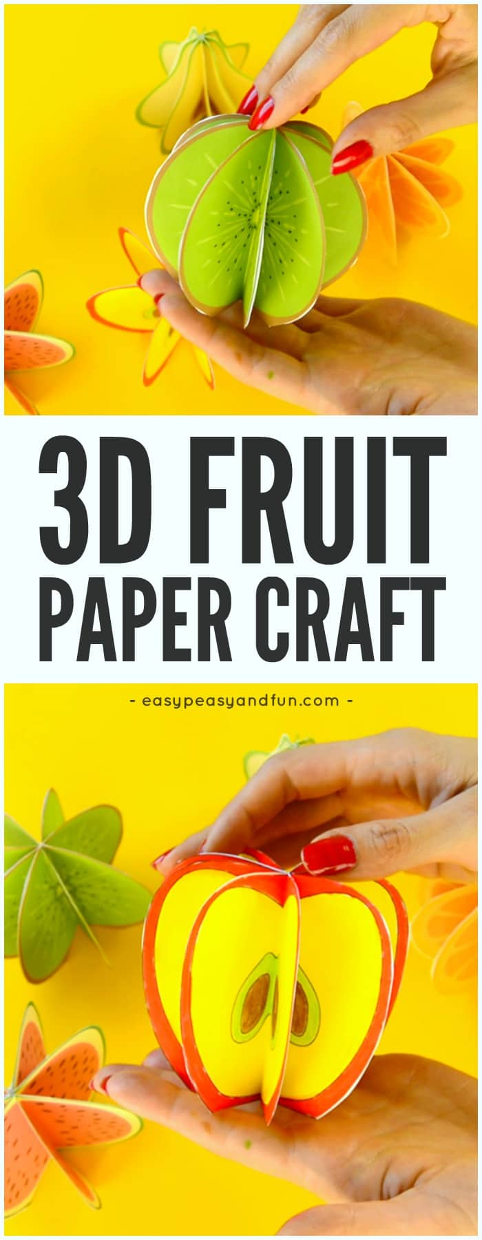 Make a christmas decoration with paper - 3d Paper Fruit Craft Easy Peasy And Fun