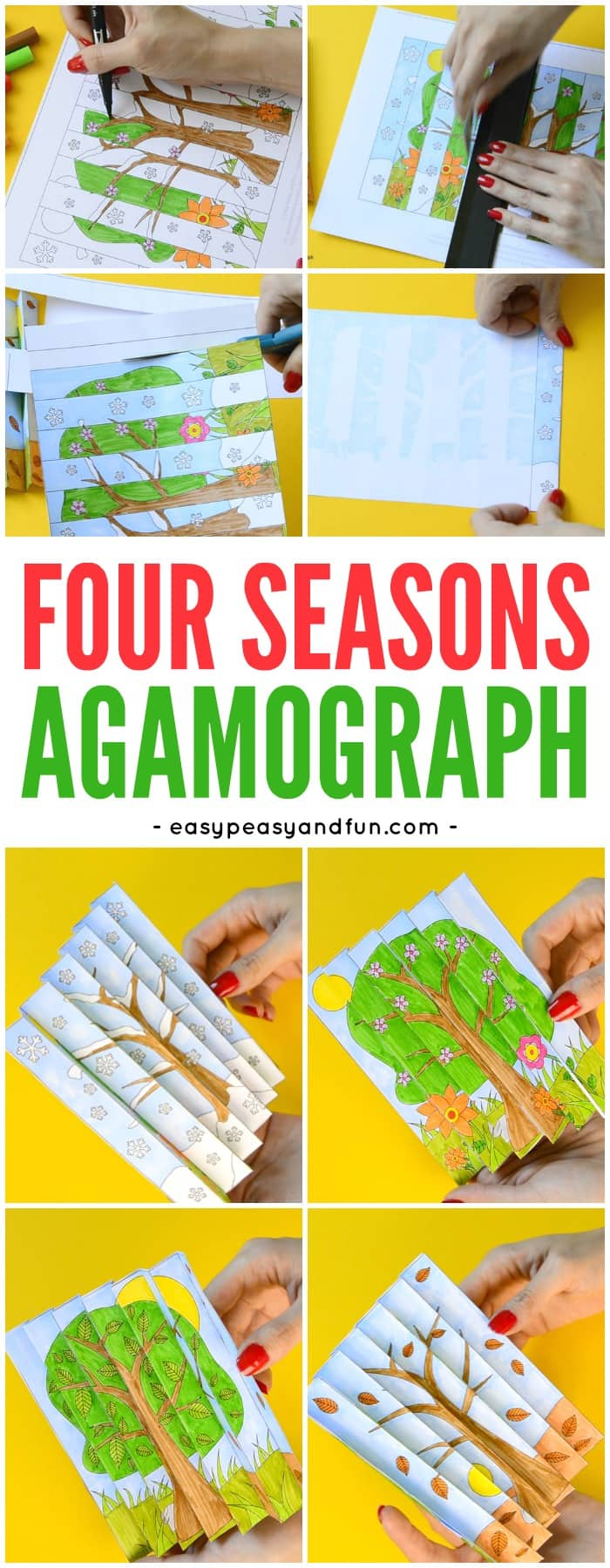 image about Seasons Printable called 4 Seasons Agamograph Template - Very simple Peasy and Pleasurable