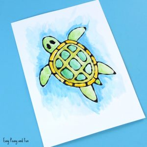 Turtle Black Glue Resist Art for Kids