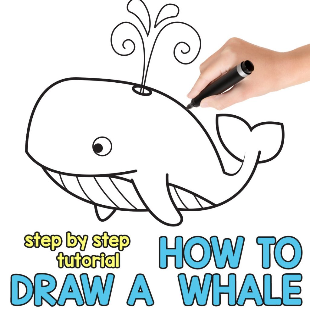 how to draw a whale step by step cartoon style easy