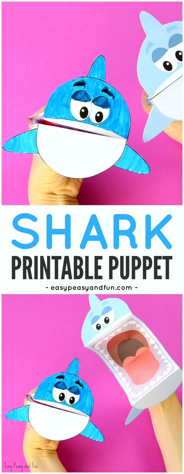 adorable printable shark puppet paper craft for kids to make - Printable Printable