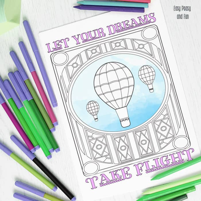 Hot Air Balloon Coloring Page Easy Peasy And Fun