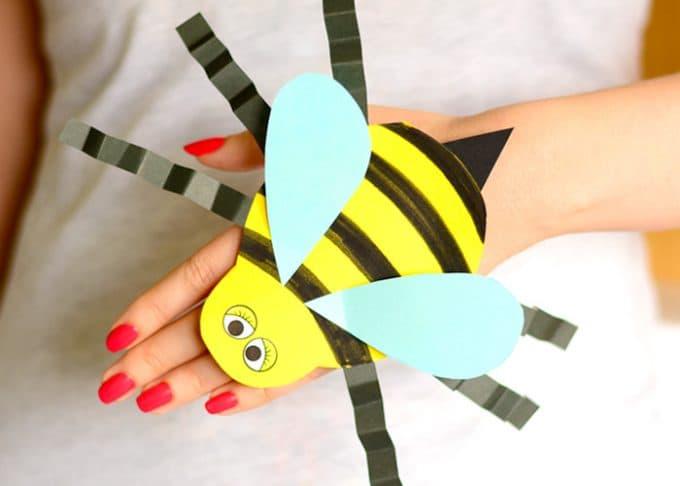 Bee Paper Hand Puppet Template