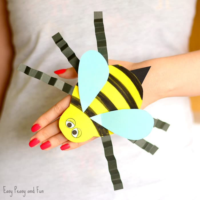 Bee Paper Hand Puppet Template Craft