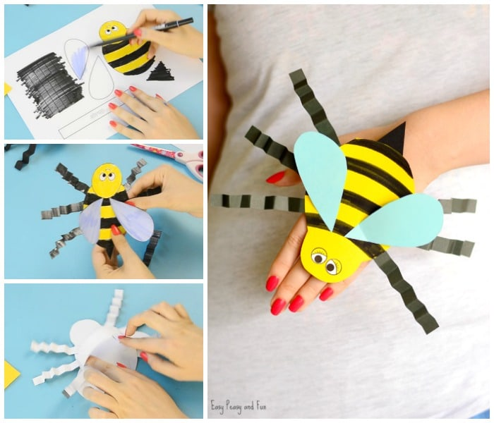 Bee Paper Hand Puppet Template for Kids