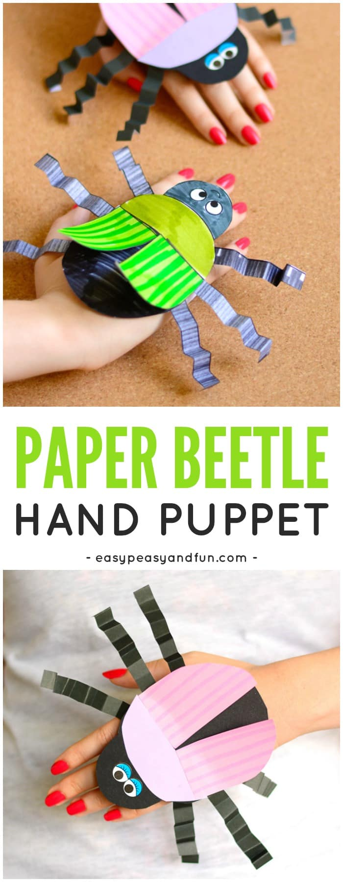 Beetle Paper Hand Puppet Template Craft for Kids to Make