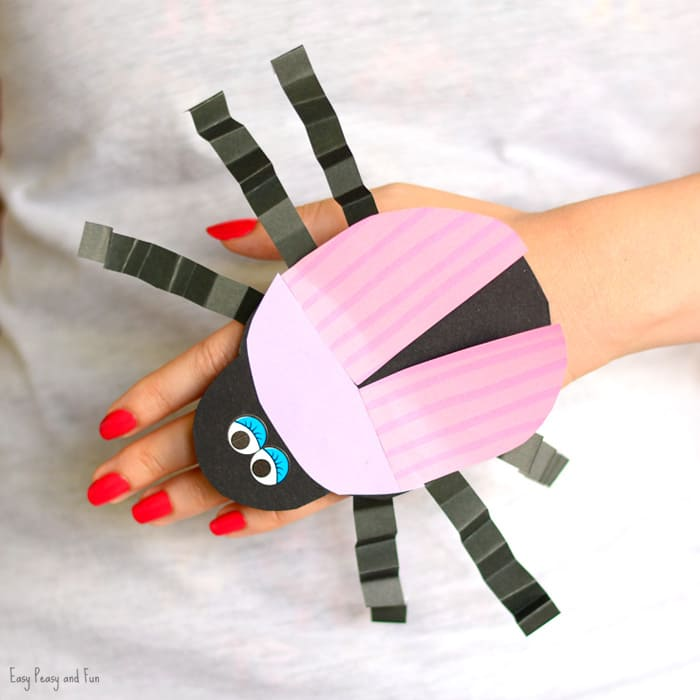 Beetle Paper Hand Puppet Template Craft