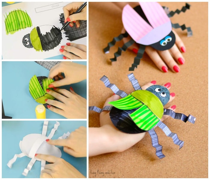 Beetle Paper Hand Puppet Template Paper Craft for Kids