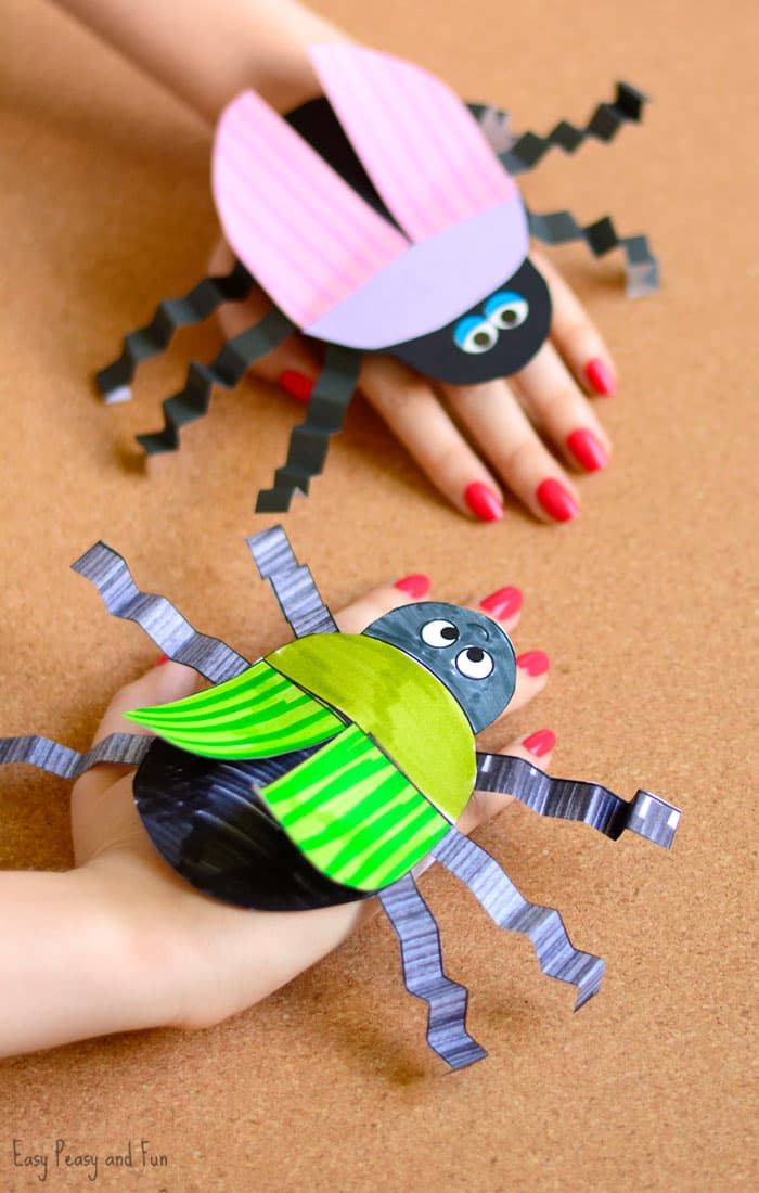 Beetle Paper Hand Puppet Template