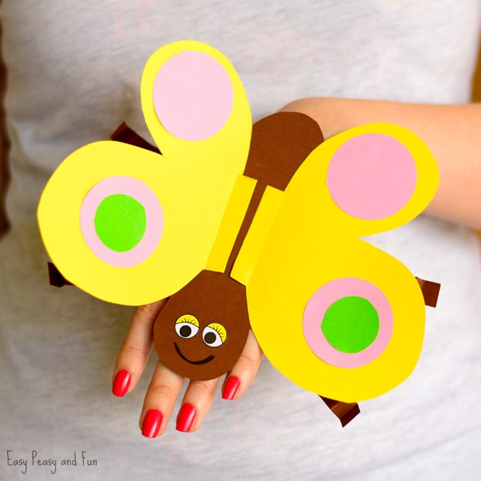 Butterfly paper hand puppet easy peasy and fun for Butterfly hands craft