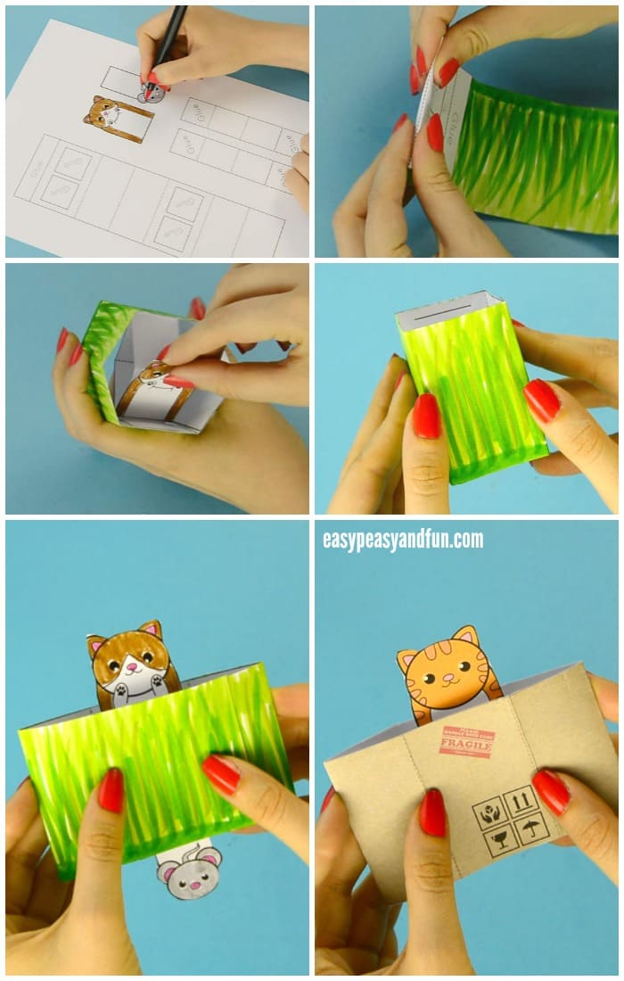 Cat Pop Up Box Paper Toy Craft for Kids