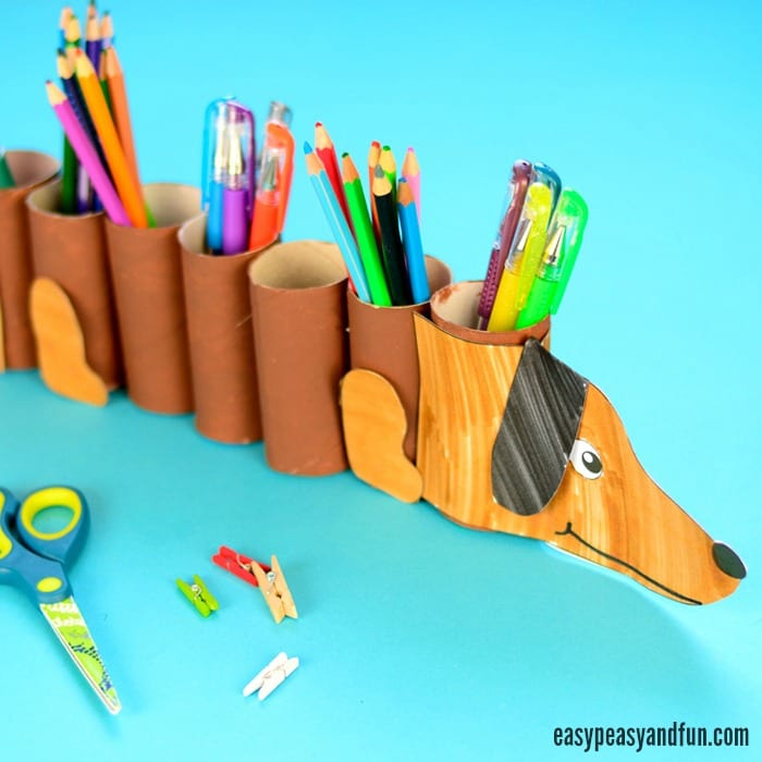 Dog Paper Roll Pencil Holder