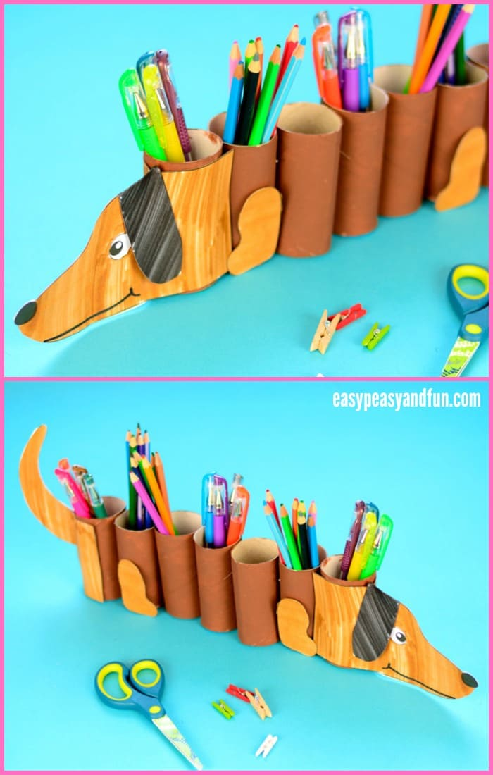 Dog Paper Roll Pencil Holder Craft for Kids