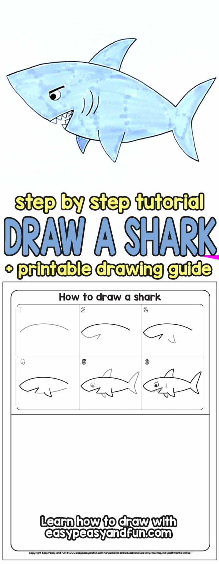 How to Draw a Shark Step by Step Tutorial