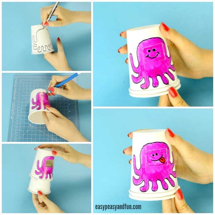 Paper Cup Octopus Emotions Craft