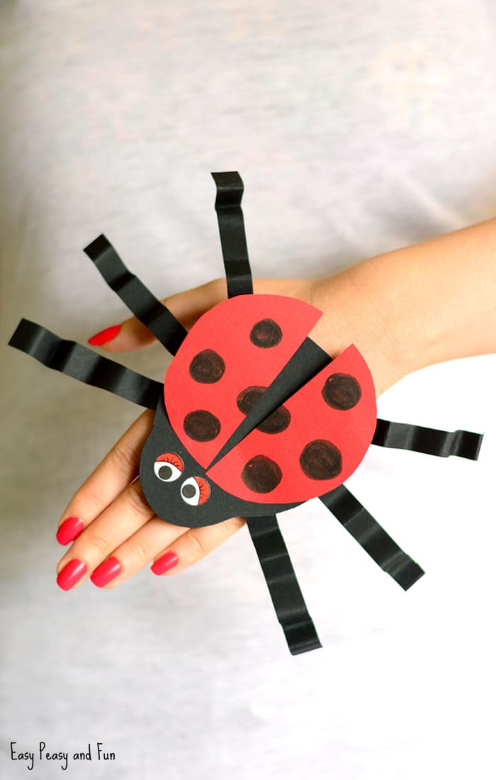 Paper Ladybug Hand Puppet Craft for Kids