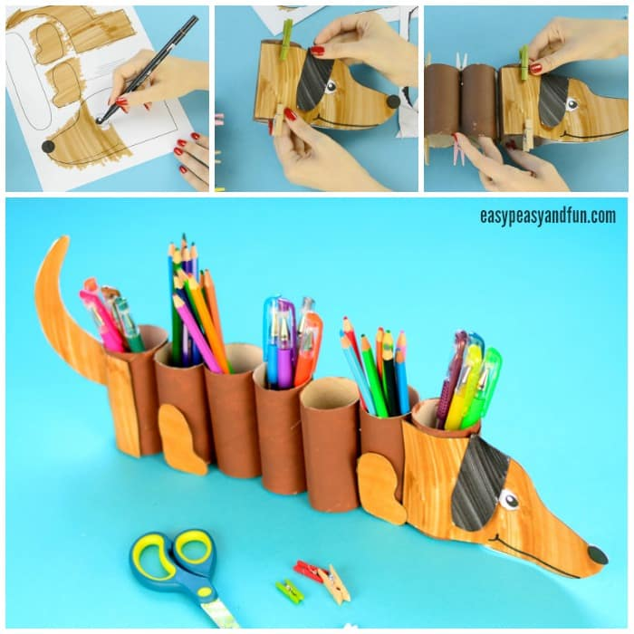 Paper Roll Dog Pencil Holder Craft for Kids to Make