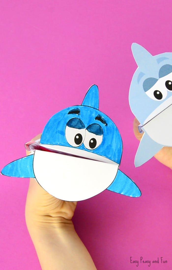printable shark puppet paper craft for kids - Printable Printable