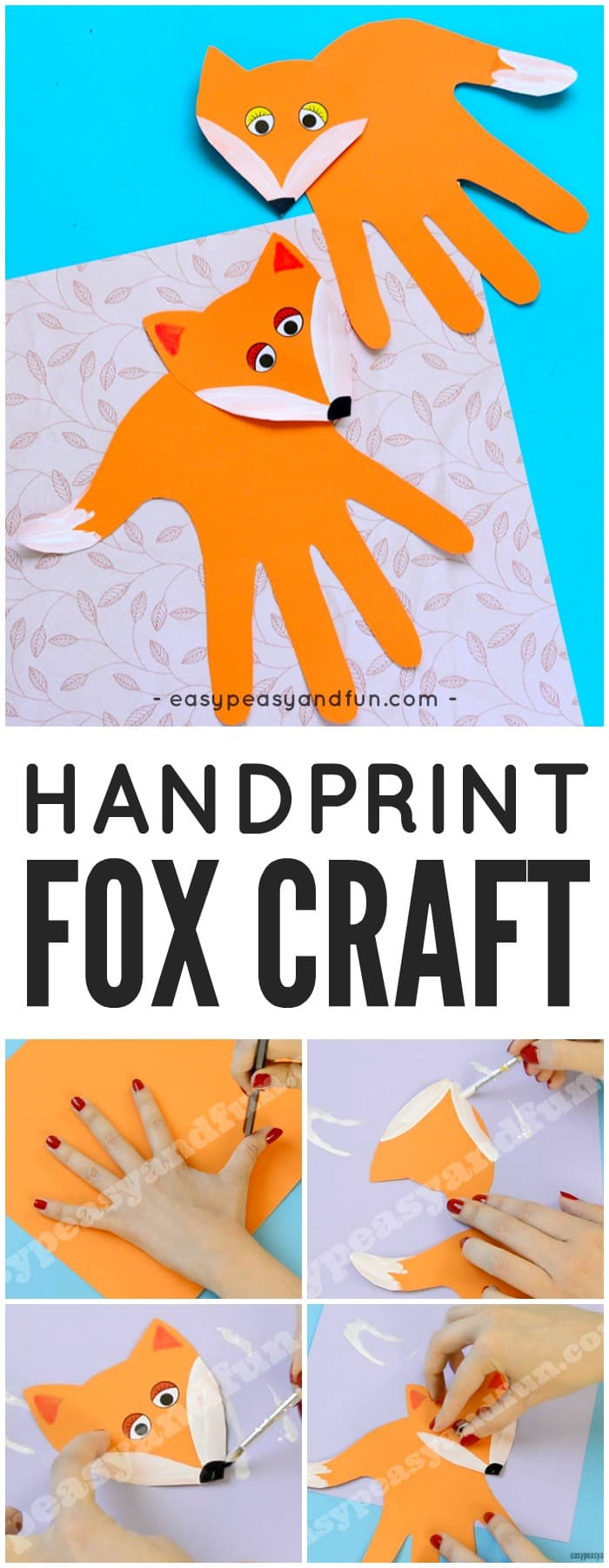 Adorable Handprint Fox Craft for Kids. Fun Paper Craft for Kids.