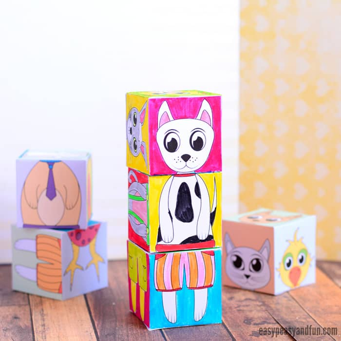 Pretty animal paper crafts templates pictures printables printable animals mix and match cubes easy peasy and fun animal paper crafts maxwellsz
