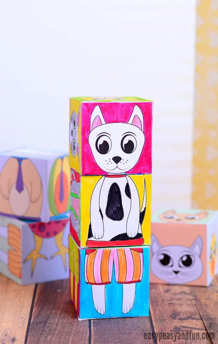 picture regarding Printable Pictures of Animals called Printable Pets Blend and Recreation Cubes - Basic Peasy and Enjoyable