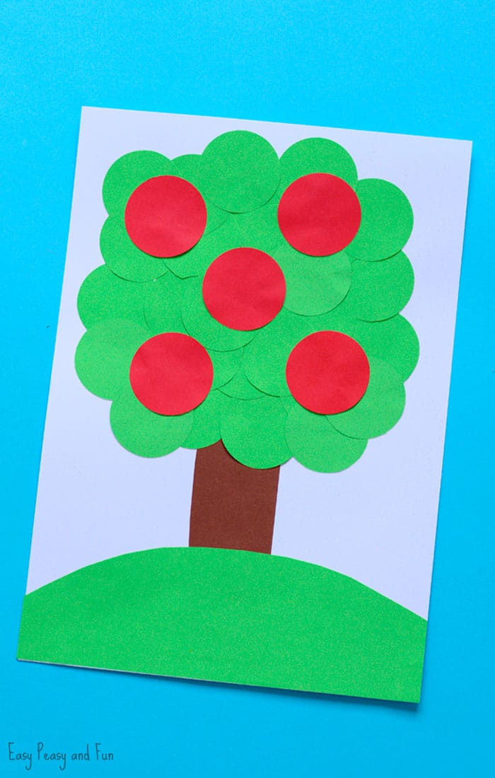 Apple Tree Circle Punch Craft Paper Collages Easy Peasy And Fun