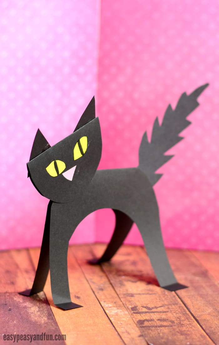 Black Cat Paper Craft for Kids. Fun Helloween craft for kids too.