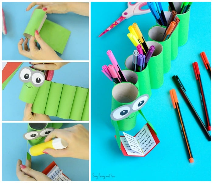 Bookworm Paper Roll Pencil Holder