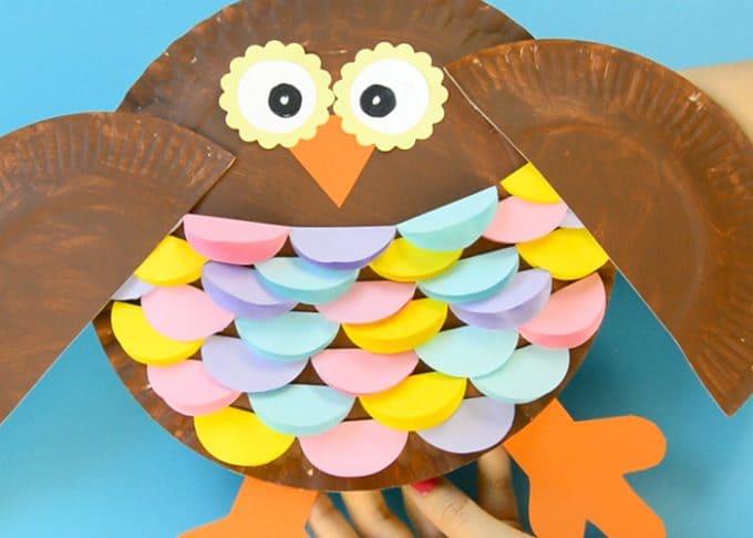Colorful Paper Plate Owl Craft Idea